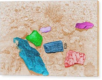 Colored Rocks 1 Wood Print by Bartz Johnson