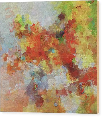 Wood Print featuring the painting Colorful Abstract Landscape Painting by Ayse Deniz