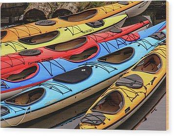 Colorful Alaska Kayaks Wood Print