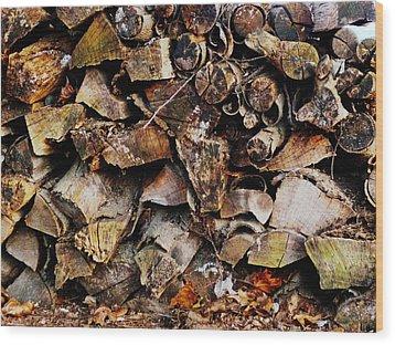 Colorful Autumn Logs Wood Print