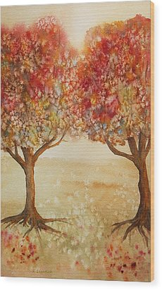 Colorful Autumn Twin Trees Wood Print by Kerri Ligatich