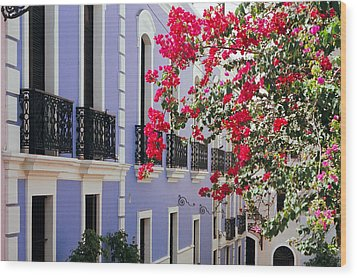 Colorful Balconies Of Old San Juan Puerto Rico Wood Print by George Oze