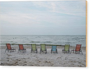 Wood Print featuring the photograph Colorful Beach Chairs by Ann Bridges