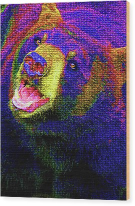 Colorful Bear Wood Print by Karol Livote
