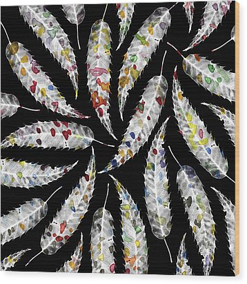 Colorful Black And White Leaves Wood Print