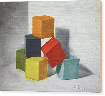 Wood Print featuring the painting Colorful Blocks by Roena King