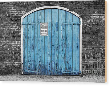 Colorful Blue Garage Door French Quarter New Orleans Color Splash Black And White And Poster Edges Wood Print by Shawn O'Brien
