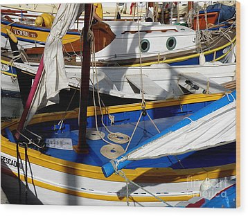 Colorful Boats Wood Print by Lainie Wrightson