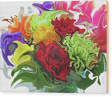 Colorful Bouquet Wood Print by Kathy Moll