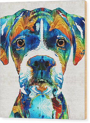 Colorful Boxer Dog Art By Sharon Cummings  Wood Print