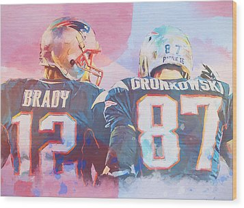 Wood Print featuring the painting Colorful Brady And Gronkowski by Dan Sproul