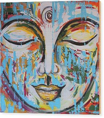 Colorful Buddha Wood Print by Theresa Marie Johnson