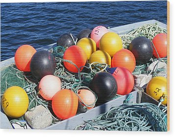 Wood Print featuring the photograph Colorful Buoys by Barbara Griffin