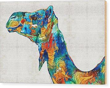 Colorful Camel Art By Sharon Cummings Wood Print by Sharon Cummings