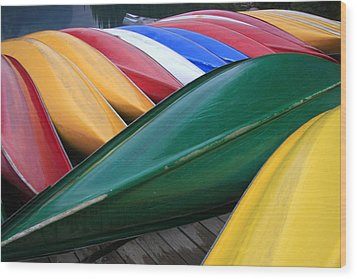 Colorful Canoes Wood Print by Catherine Alfidi