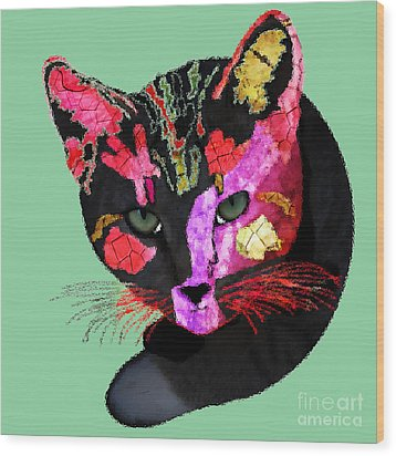 Colorful Cat Abstract Artwork By Claudia Ellis Wood Print