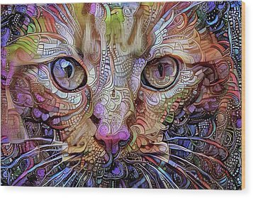 Colorful Cat Art Wood Print by Peggy Collins