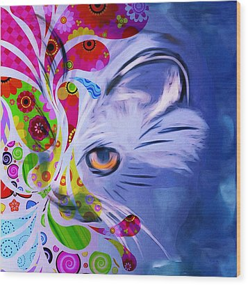 Wood Print featuring the mixed media Colorful Cat World by Gabriella Weninger - David