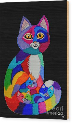 Colorful Cats And Kittens Wood Print by Nick Gustafson