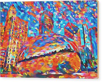 Wood Print featuring the painting Colorful Chicago Bean by Dan Sproul