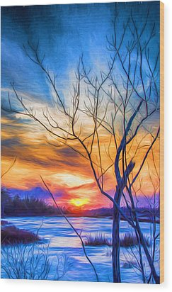 Colorful Cold Sunset Wood Print