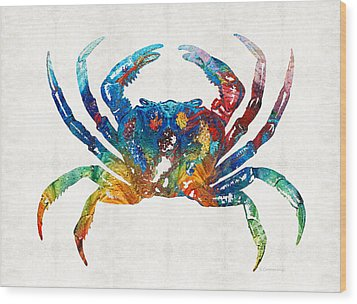 Colorful Crab Art By Sharon Cummings Wood Print by Sharon Cummings