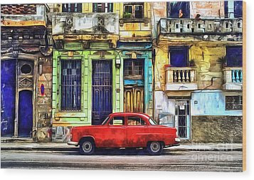 Wood Print featuring the painting Colorful Cuba by Edward Fielding
