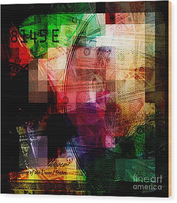 Wood Print featuring the photograph Colorful Currency Collage by Phil Perkins