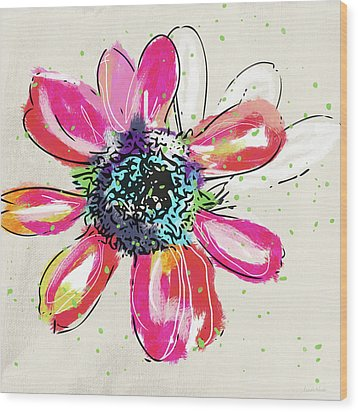 Wood Print featuring the mixed media Colorful Daisy- Art By Linda Woods by Linda Woods