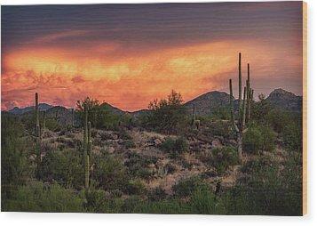 Wood Print featuring the photograph Colorful Desert Skies At Sunset  by Saija Lehtonen