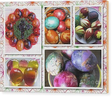 Wood Print featuring the photograph Colorful Easter Eggs Collage 07 by Ausra Huntington nee Paulauskaite