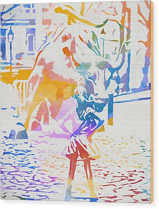 Wood Print featuring the painting Colorful Fearless Girl by Dan Sproul