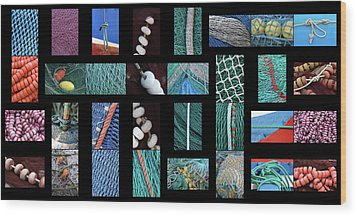 Wood Print featuring the photograph Colorful Fishing Nets by Frank Tschakert