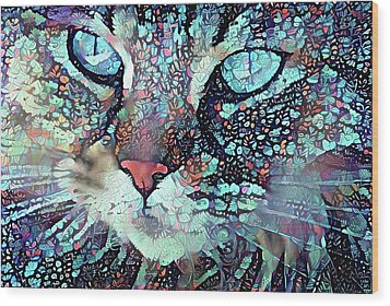 Colorful Flower Cat Art - A Cat Called Blue Wood Print