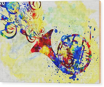 Colorful French Horn Wood Print by Olga Hamilton