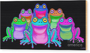 Wood Print featuring the painting Colorful Froggies by Nick Gustafson