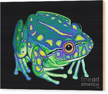 Wood Print featuring the painting Colorful Froggy 2 by Nick Gustafson