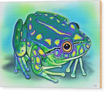 Wood Print featuring the painting Colorful Froggy by Nick Gustafson