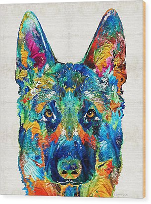 Colorful German Shepherd Dog Art By Sharon Cummings Wood Print