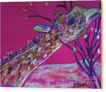 Colorful Giraffe Wood Print