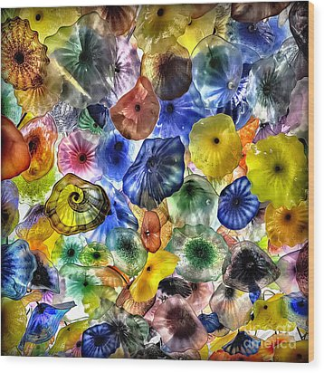 Colorful Glass Ceiling In Bellagio Lobby Wood Print by Walt Foegelle