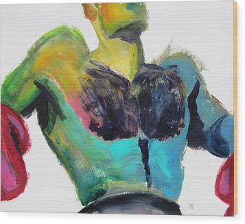 Colorful Hairy Boxer Wood Print by Shungaboy X