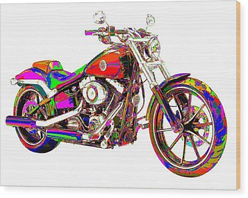 Colorful Harley-davidson Breakout Wood Print