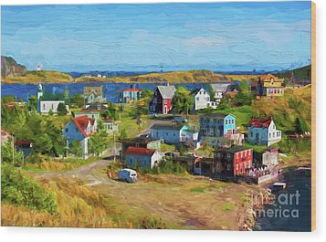 Colorful Homes In Trinity, Newfoundland - Painterly Wood Print by Les Palenik