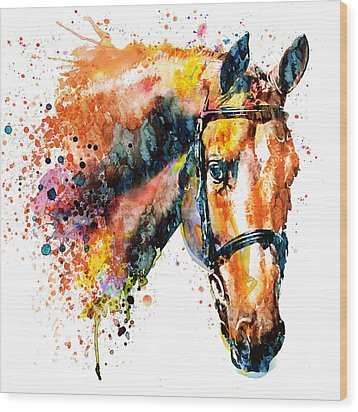Wood Print featuring the mixed media Colorful Horse Head by Marian Voicu