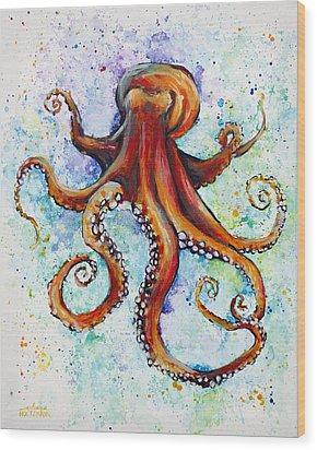 Colorful Ink Wood Print by Arleana Holtzmann