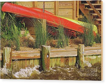 Wood Print featuring the photograph Colorful Kayak Duo by Lois Bryan