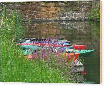Colorful Kayaks Wood Print