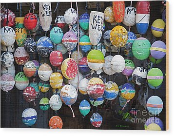 Colorful Key West Lobster Buoys Wood Print