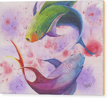 Wood Print featuring the painting Colorful Koi by Darice Machel McGuire
